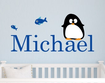 Children Wall Decal Baby Penguins with Name Vinyl decal