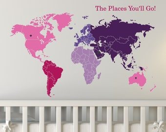 World map w continents ocean names wall decal etsy world map of continents map markers vinyl sticker gumiabroncs Gallery