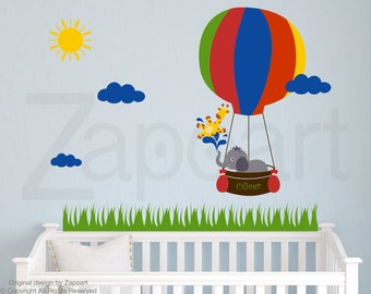 Air Balloon with Elephant & Baby Giraffe Personalized Name Wall Decal