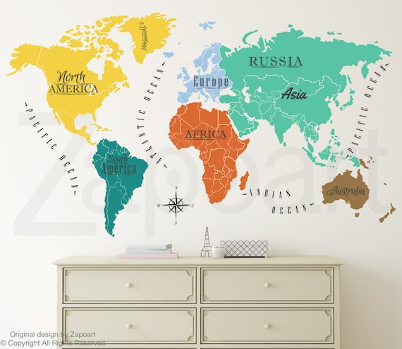 World map w continents ocean names wall decal gumiabroncs Choice Image