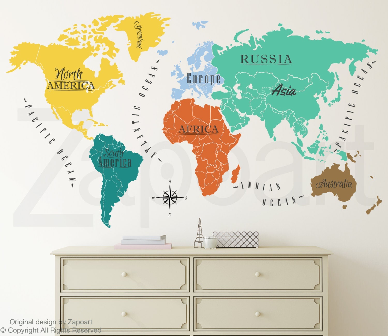 World map w continents ocean names wall decal gumiabroncs Gallery