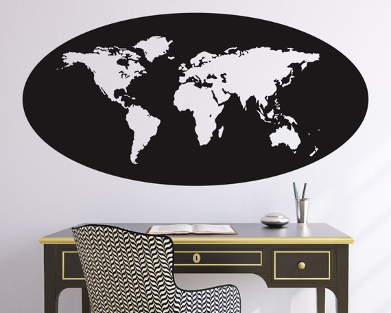 World map oval outline wall decal etsy gumiabroncs Gallery