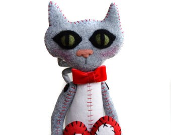 Valentines Cat - Cat Art Doll - Cat Lover - Cat Cloth Doll - Valentine's Gift - Made To Order