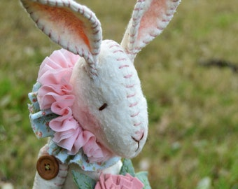 Primitive Bunny - Cloth Doll Bunny - Spring Decor -  Bunny Art Doll - Made To Order