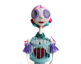 Day of the Dead doll - Pastel Colors Doll - Dia de los Muertos - Pink Art Doll - Made To Order