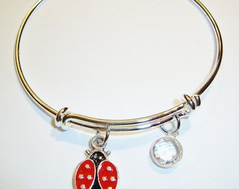 Adjustable Wire Bangle with Ladybug Charm