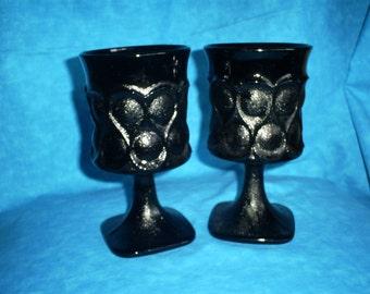 SALE  Vintage, Set of 4 Noritake Spotlight Black Goblets. Was 39.00