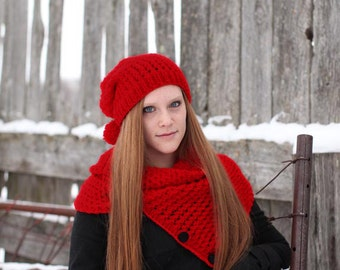 Knitting Cowl - Red Neckwarmer  - Red Circle Scarf - Red Knitting Scarf - Winter Accessory,  ready to ship