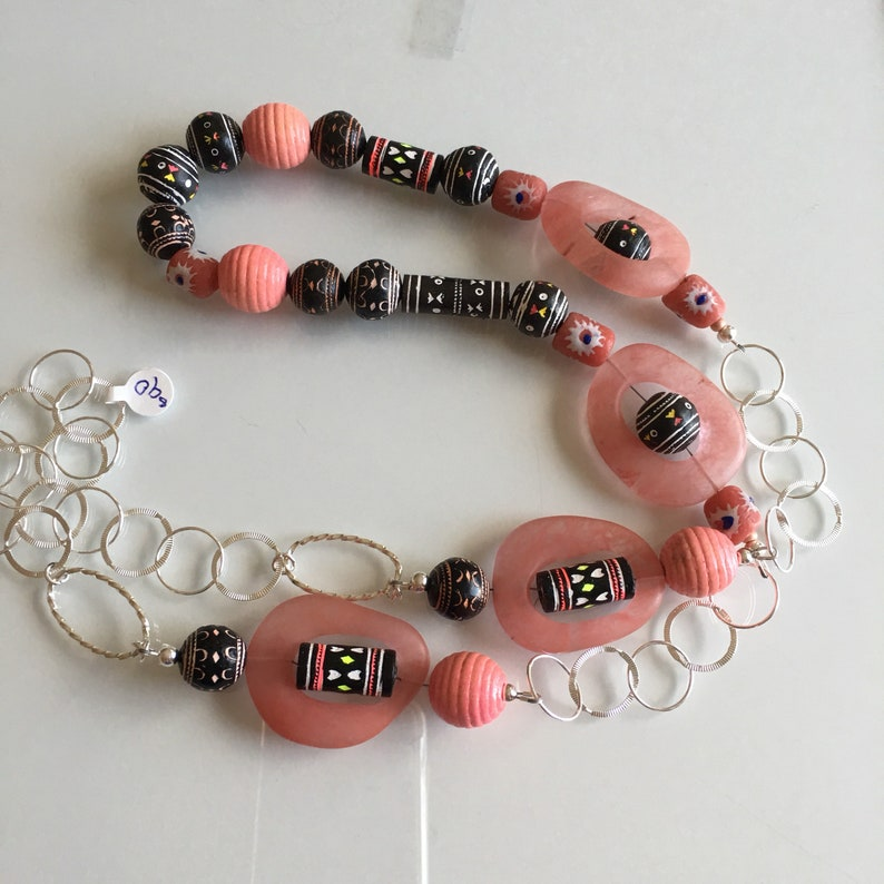 Ethnic Long Necklace of Pink Quartz and Chain image 0
