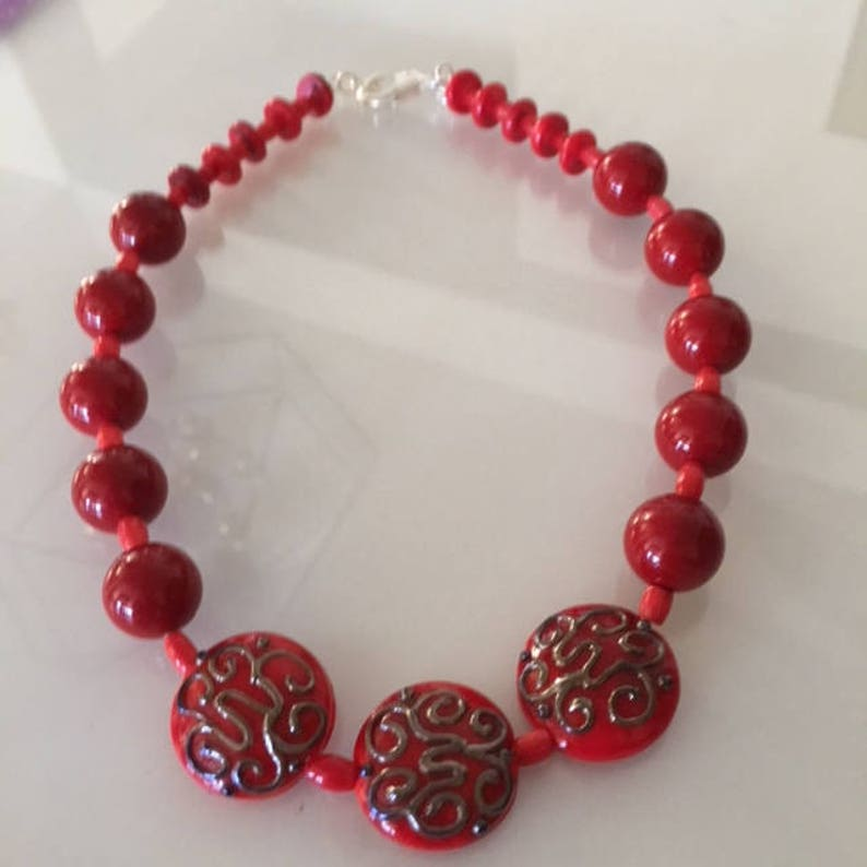 Red Lampwork Beaded Necklace image 0