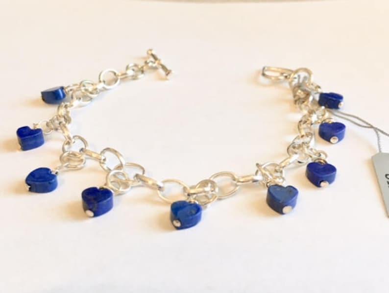 Blue Lapis Heart Bracelet image 0