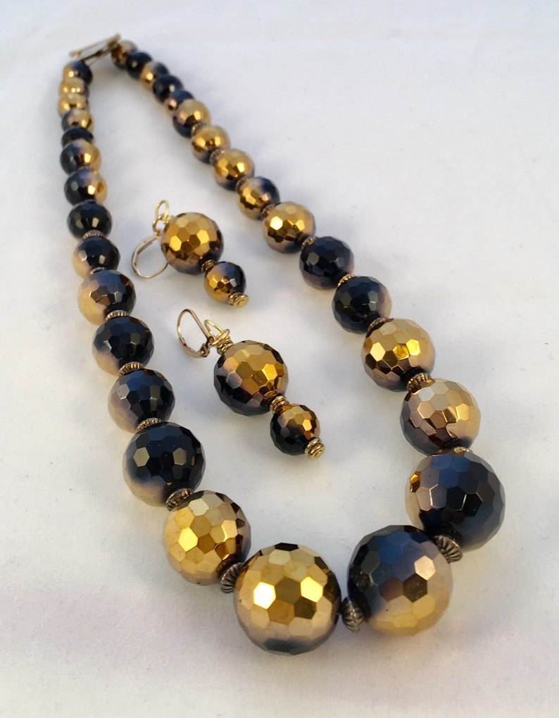 Black and Gold Czech Glass Party Necklace image 0