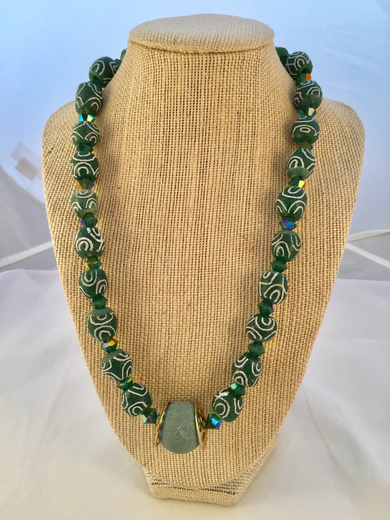 Ethnic Necklace of Green Krobos Beads and Swarovski crystals. image 0
