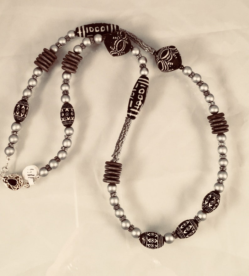 Ethnic Silver and Black Beaded Long Necklace image 0