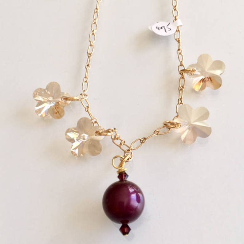 Gift Swarovski Crystal Gold Flower Necklace image 0