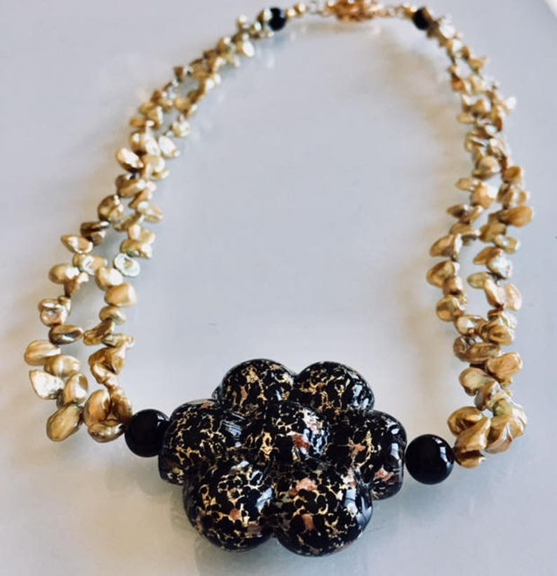 Gift Thick Black Venetian Flower with Pearl Petals Necklace image 0