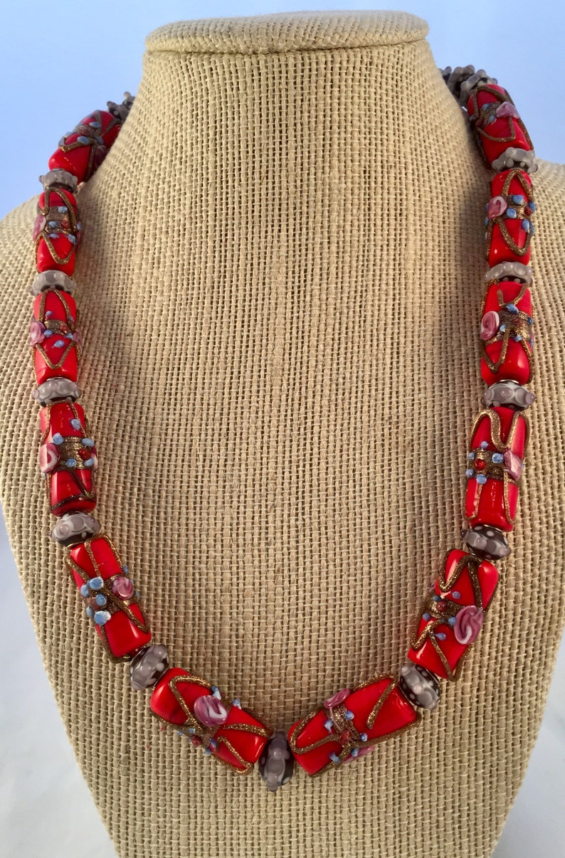 Red Venetian Glass Drum Bead Necklace image 0