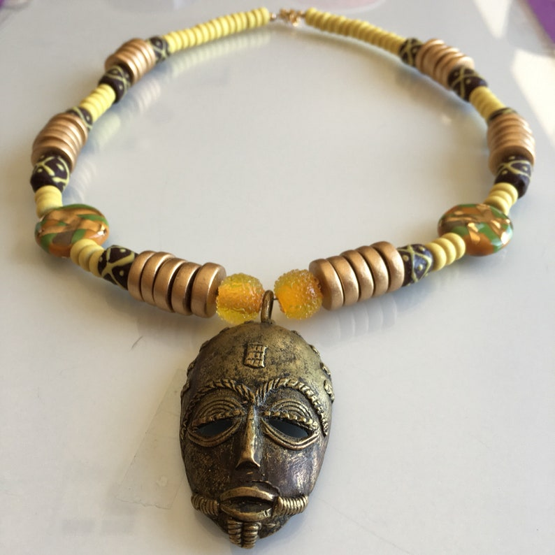 Ethnic African Mask Necklace image 0