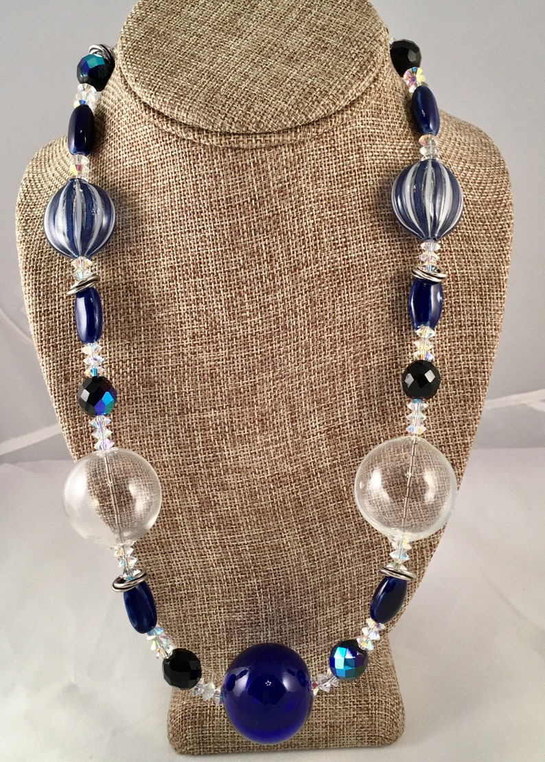 Statement Necklace  of Cobalt Blue and Clear Venetian Glass image 0