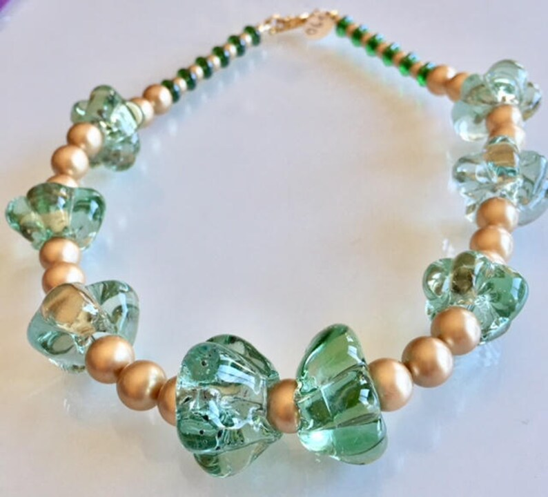 Gift Israeli Green Glass and Swarovski Gold Pearls Necklace image 0