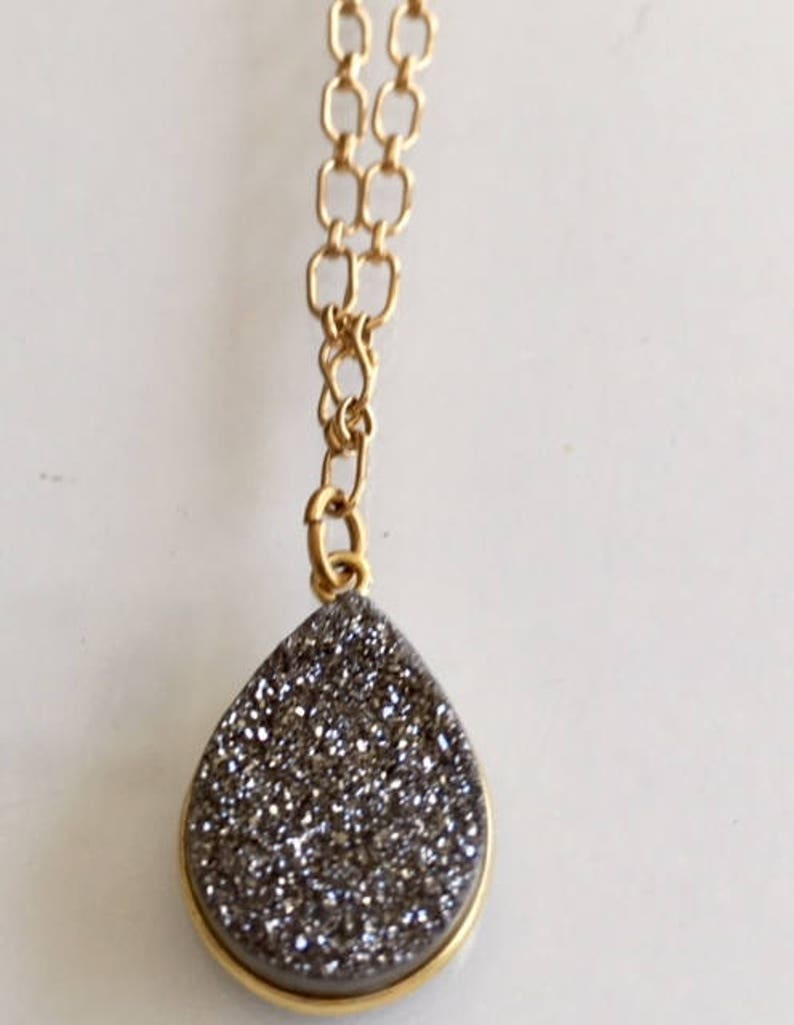 Gift Golden Druzy on Gold-Filled Chain Necklace image 0
