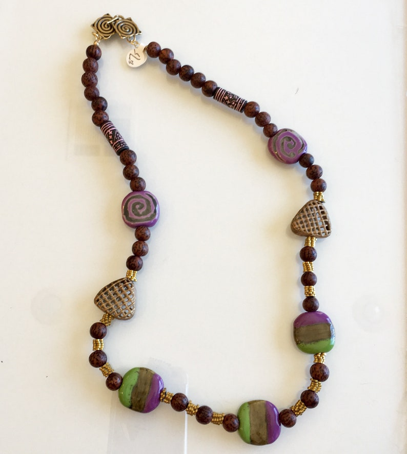 Ethnic Necklace of Green and Purple Glossy Beads image 0