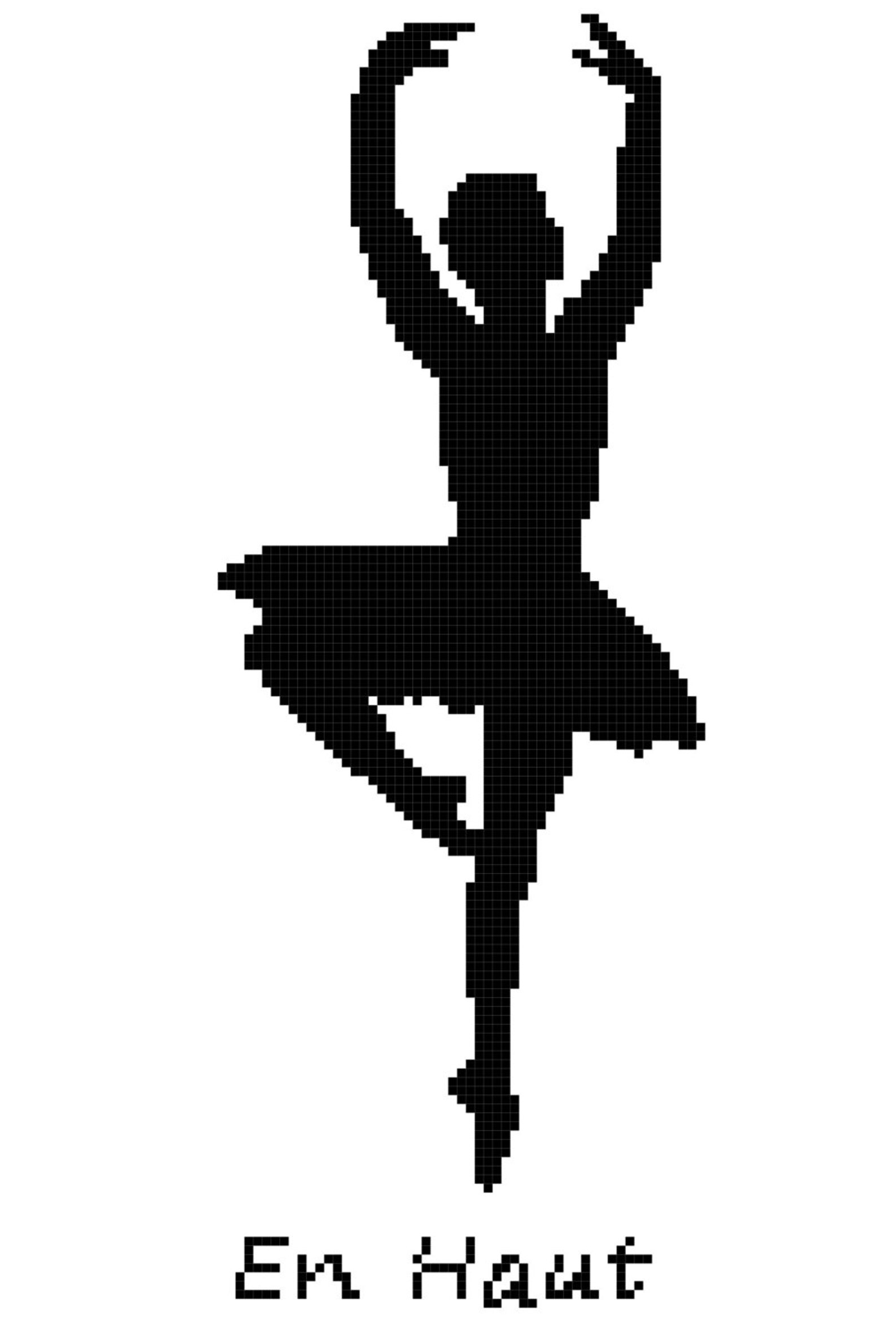 ballet position en haut wall art cross stitch pattern