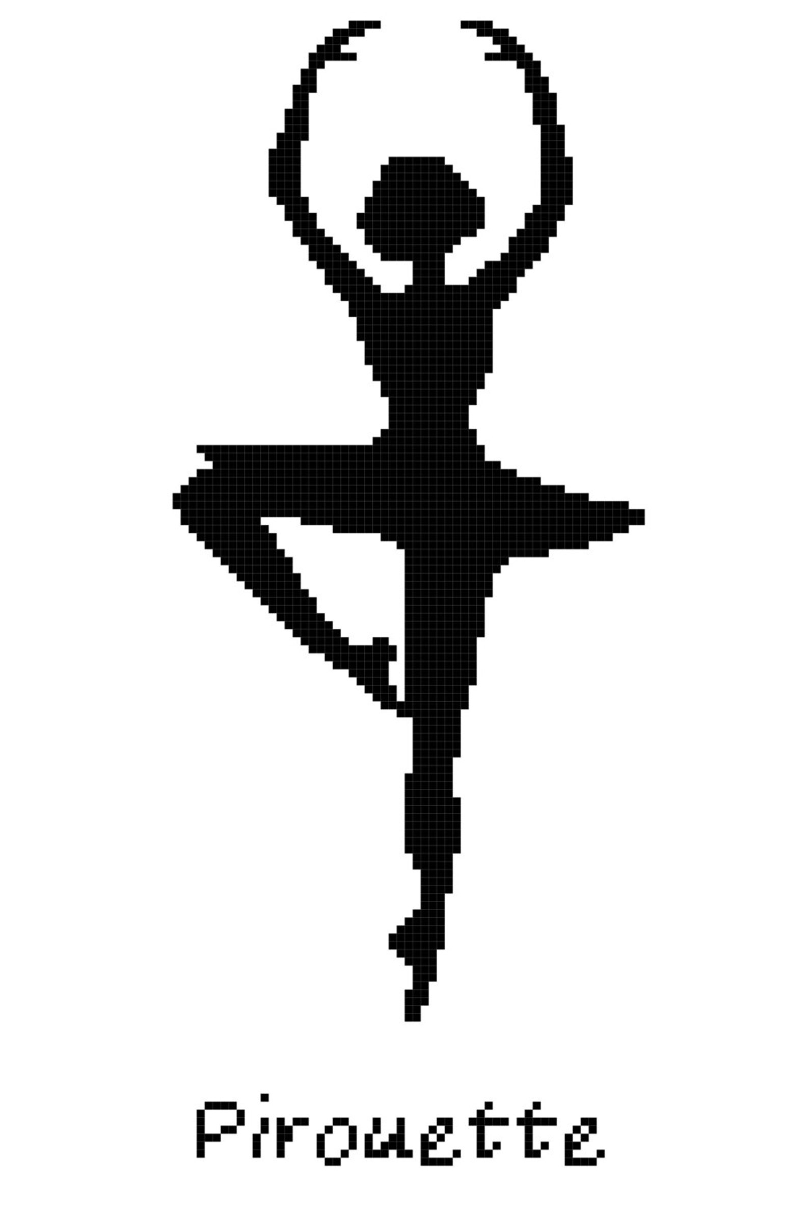 ballet position pirouette wall art cross stitch pattern