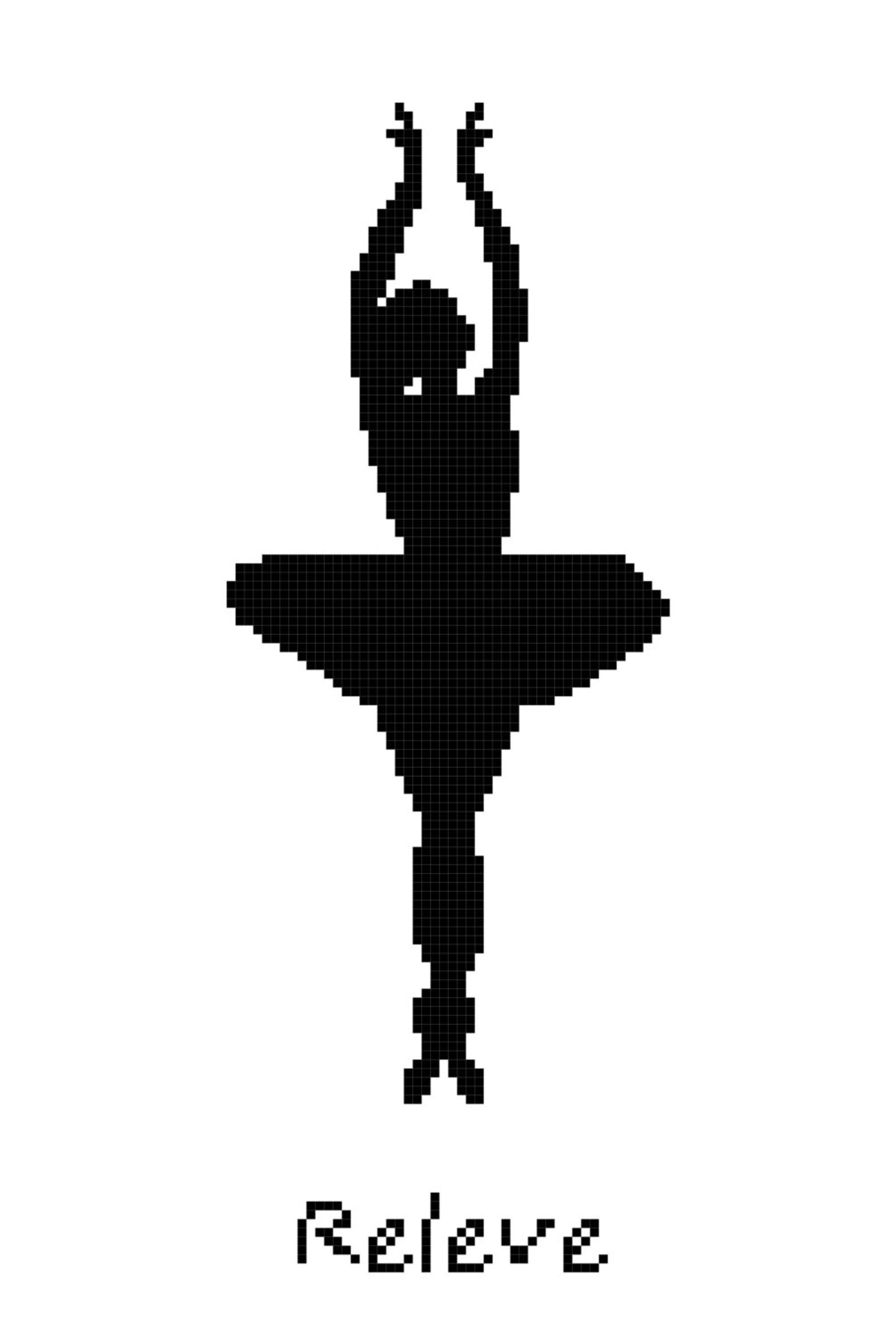 ballet position releve wall art cross stitch pattern