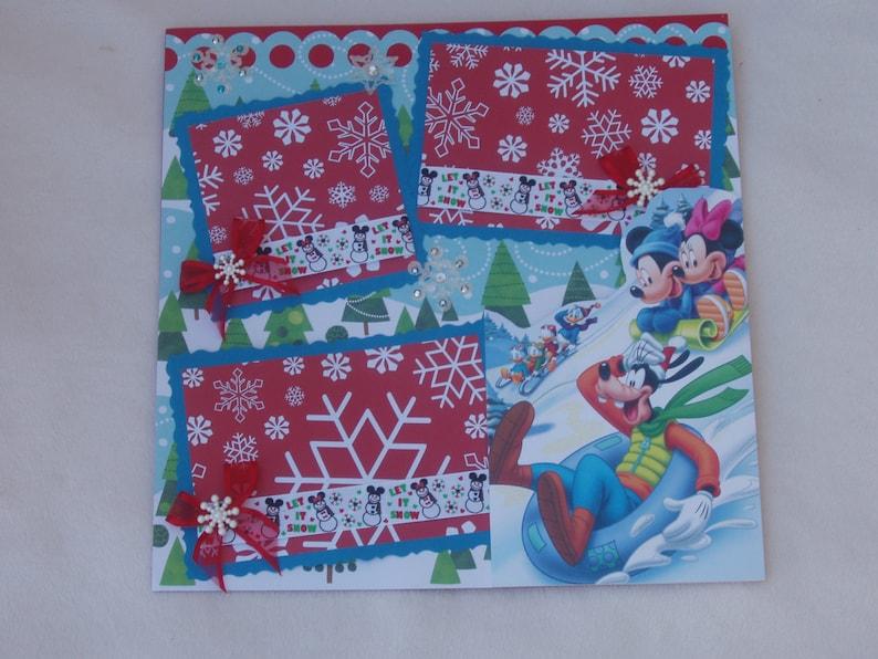 Disney Mickey Mouse Minnie Goofy Donald Christmas Winter Snow Sleds Snowmen 12x12 Premade Scrapbook Page by KARI