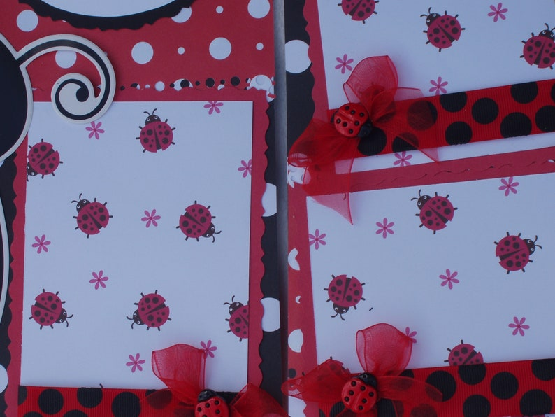 Ladybug Spring Summer Red Black Spots Daisy Insect Leaves Beetle Outdoors 12x12 Premade Scrapbook Pages by KARI