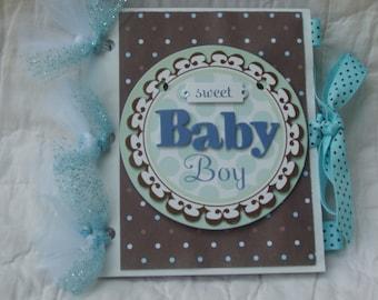 Sweet Baby Boy New Baby 5x6  Mini Paperbag Scrapbook Photo Album Blue Brown Hand Foot Prints Baby Shower Baby Gift Grandparents Brag Book