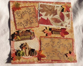 Autumn Fall Thanksgiving Halloween Pumpkin Leaves 12x12 Premade Scrapbook Page by KARI