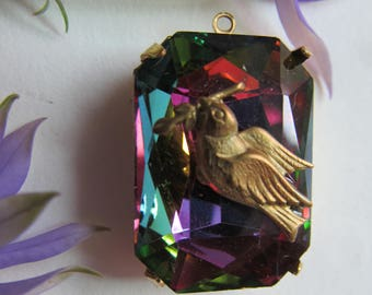 Exclusive.. Bird With AB Olivine  Crystal Drop With Hoop