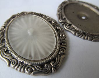 Vintage Camphor Glass With Silver Setting