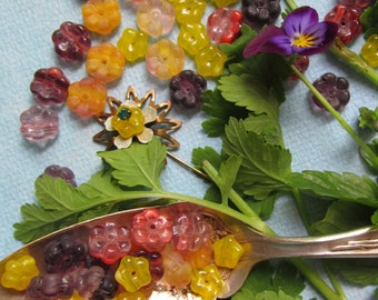 50 Delightful Glass Flower Beads, Mixed Colors