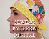 PDF SEWING PATTERN 2 Color Scrub Cap for Short Hair with Pictures and Instructions and a video