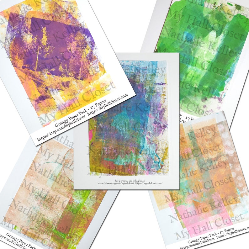 and Mixed Media Digital Grungy Painted Papers Kit Cards Perfect for Junk Journals 17 Digital Pages