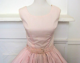 24c125bdc9c Vintage 1950 s Pink Dotted Swiss Summer Dress