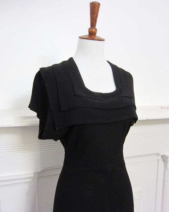 1930s Black Crepe Gown