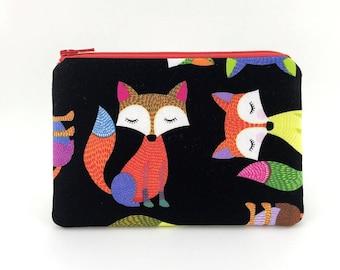 Fox Coin Purse - Small Wallet - Red Orange Zipper Pouch - Gift ideas - Padded Pouch - Change Purse - Fox Wallet