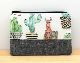 Cactus Llama Pouch - Cute Coin Purse - Llama Lovers Gift - Llama Wallet Pouch - Small Change Purse - Padded Zip Pouch - Gift for her