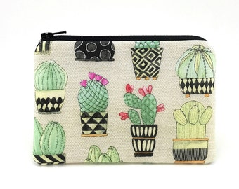 Cactus Coin Purse - Cactus Pouch - Zipper Pouch - Small Wallet - Gift for her - Padded Pouch - Tan Change Purse - Accessory Bag