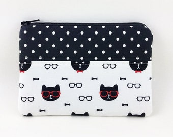 Cat coin purse - gifts for cat lovers - black and white polka dot - cat zipper pouch - patchwork purses - small coin pouch wallet