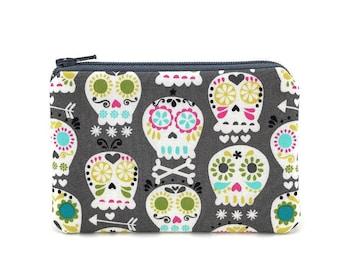Sugar Skulls Coin Purse - Mini Zipper Pouch - Gray Change Purse - Skull Zipper Pouch - Card Wallet - Padded Pouch - Gift for her