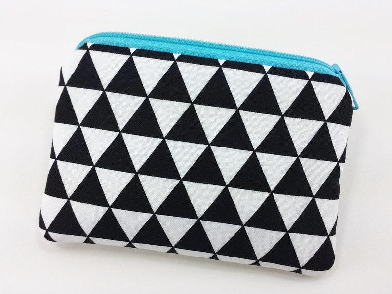 Triangle Print Fabric Pouch Zip Coin Purse Padded Pouch Black and White Triangles Purse Mini Pouch Wallet Blue Zipper