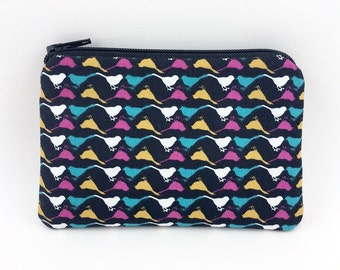 Bird Coin Purse - Mini Wallet - Card Pouch - Black Zipper Pouch - Gift ideas - Padded Pouch - Bird Zipper Pouch - Change Purse