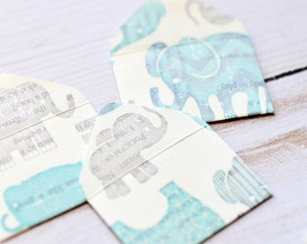 Blue Elephant Tiny Envelopes // Set of 10 // Embellishment // Blank Cards // Scrapbooking // Paper Crafting // Baby Book