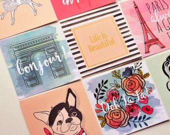 Paris Journaling Cards // Set of 9 // Inspirational Cards // Scrapbooking // Embellishment // Pocket Card // Planner Accessory // Travel