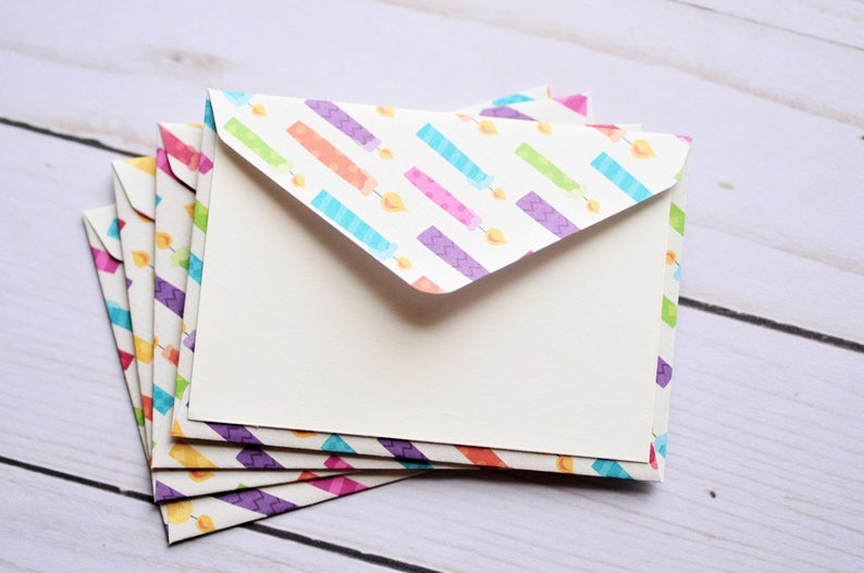 Birthday Candle Mini Cards Set Of 4 Gift Card Envelopes